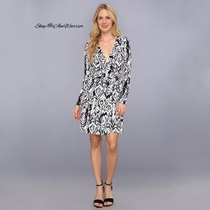 Tart long sleeve stretchy ikat print wrap dress